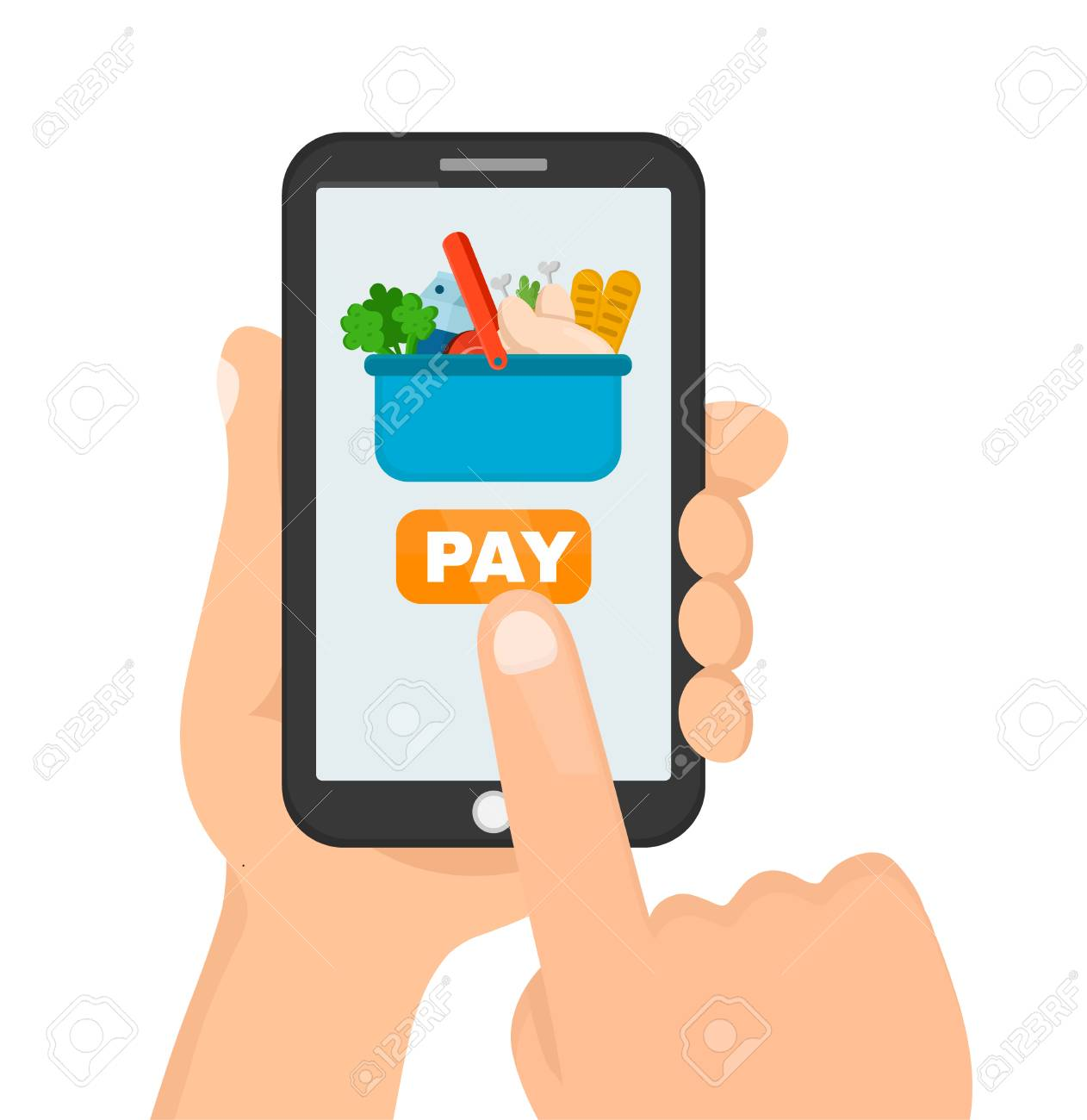 Man Holding Smartphone In Hand For Online Shopping Order Food