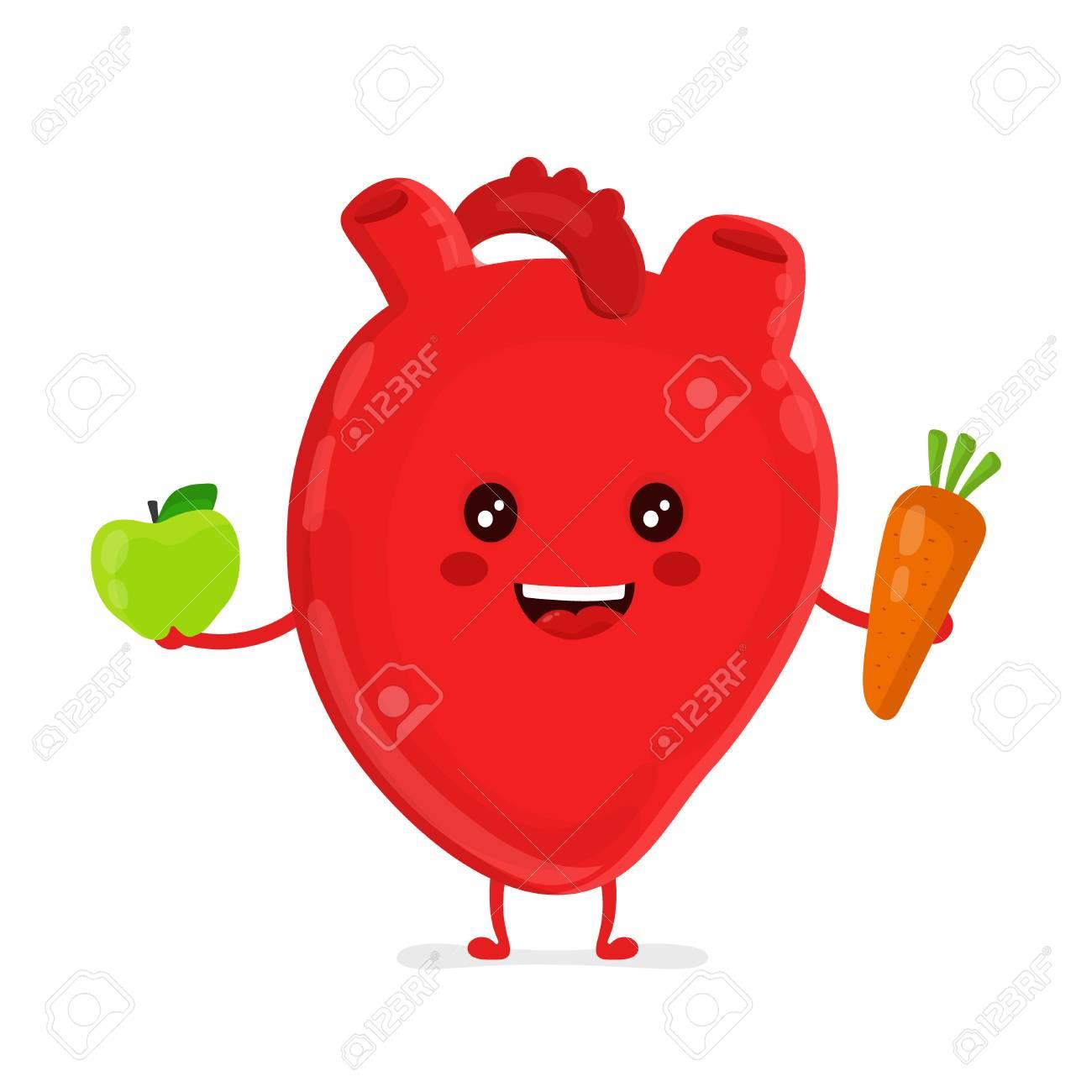 Fuerte Divertido Saludable Corazón Feliz Personaje Con Zanahoria Y ...