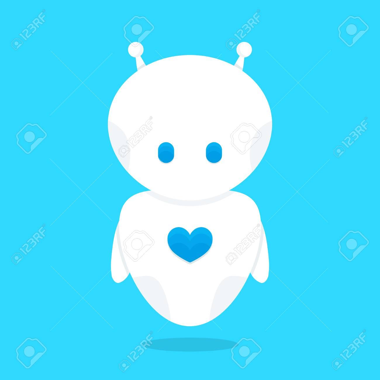 青いハート文字とかわいい面白い白いロボット ボットベクトル フラット