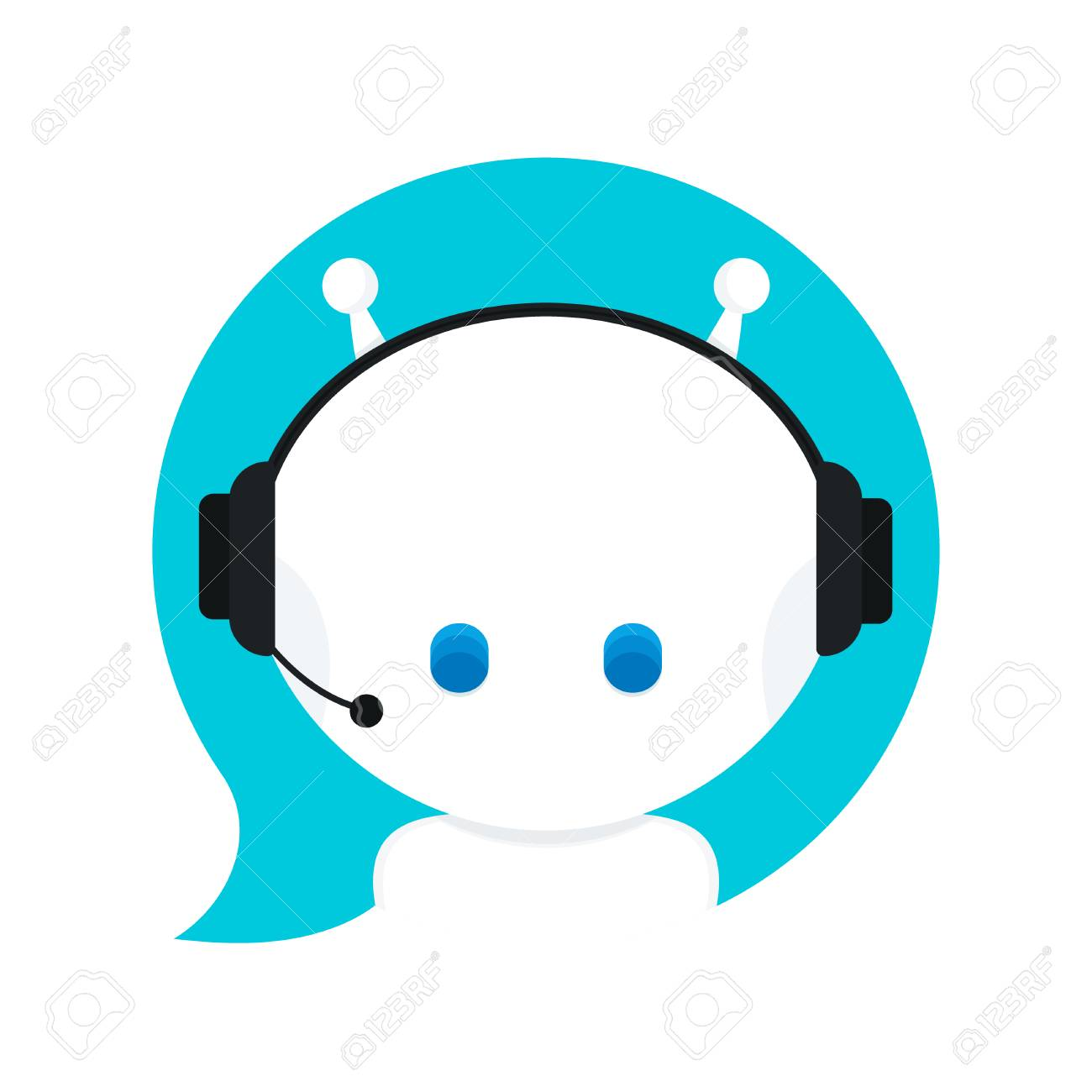 Cute smiling funny robot chat bot in speech bubble. Vector modern flat cartoon character illustration.Isolated on white background.Voice support service chat bot,virtual online help customer support - 91317273
