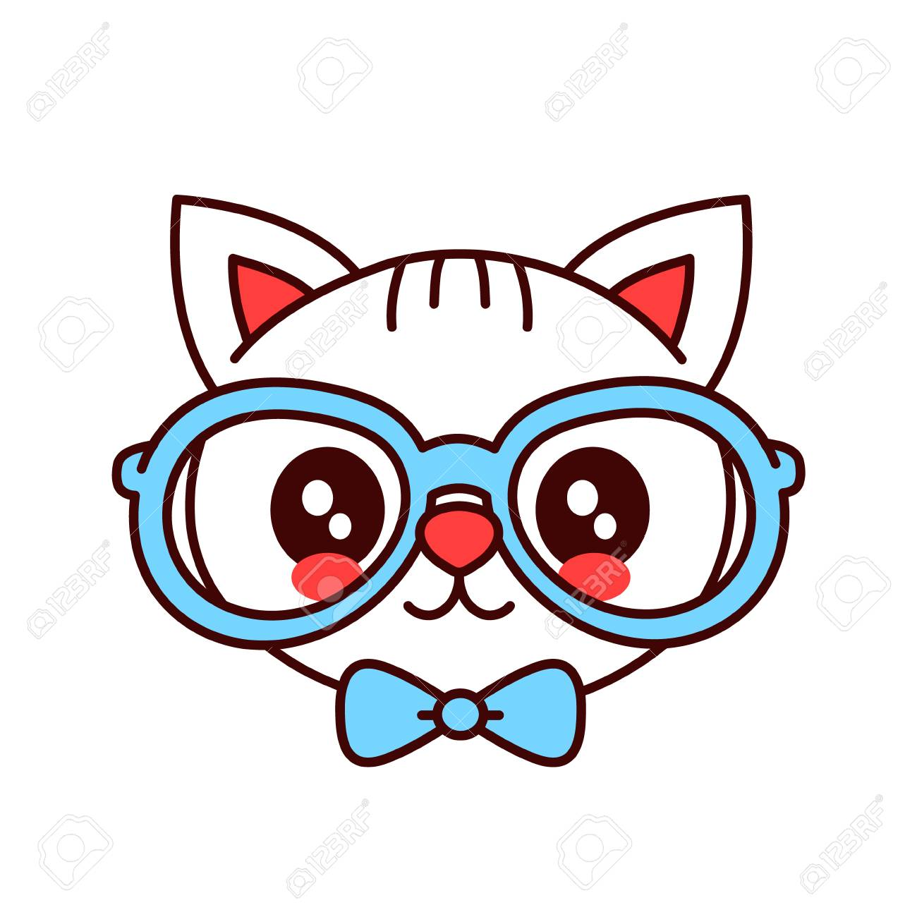 Cute Smiling Funny Hipster Cat In Glasses And Butterfly Tie Face Vector Cartoon Character