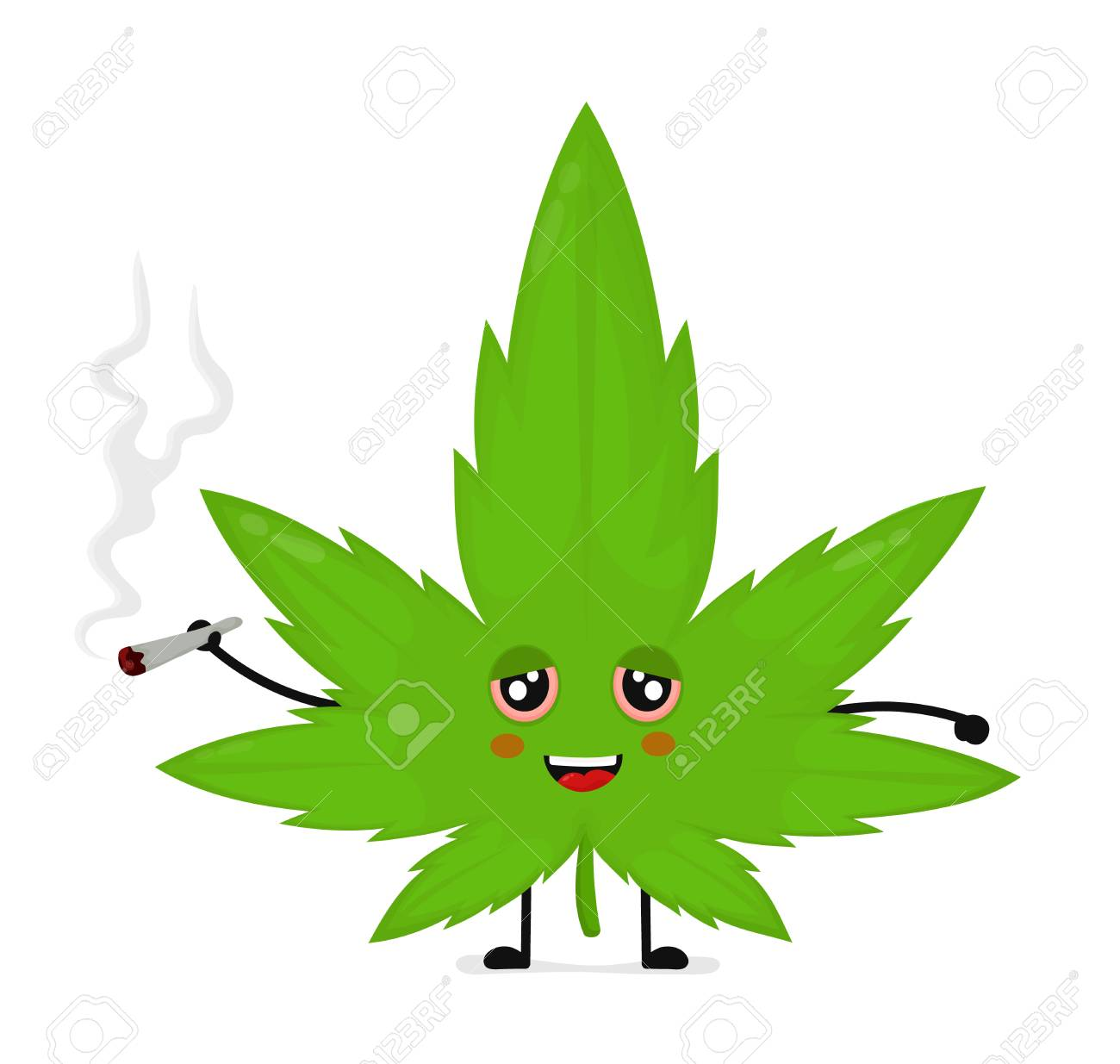 Cute funny smiling happy marijuana weed leaf smoke joint  Vector