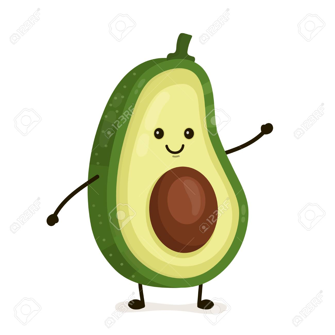 Funny happy cute happy smiling avocado. Vector flat cartoon character illustration icon. Isolated on white background. Fruit avocado concept - 98519348