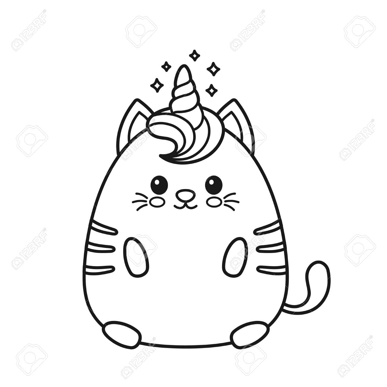 Cute happy smiling unicorn cat. Design for child t-shirt,coloring..