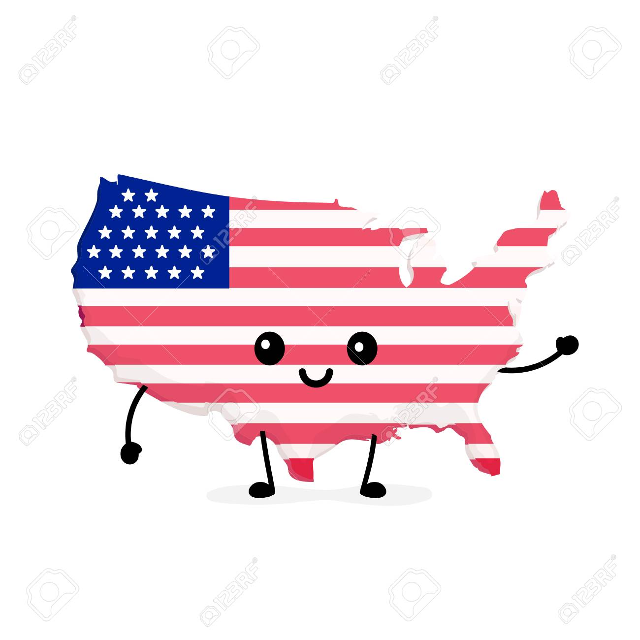 Cute Funny Smiling Happy USA Map And Flag Character. Vector