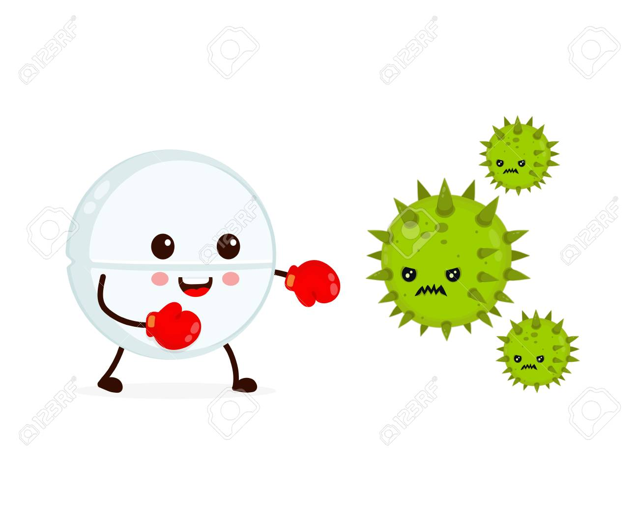 Cute happy funny strong tablet in boxing gloves fight with bacteria microorganism virus. Vector flat cartoon character illustration icon design. Tablet, health, medical antibiotic concept - 113609943