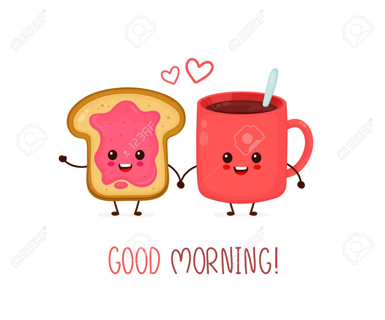 happy cute smiling funny cup of tea coffee and toast with jam vector royalty free cliparts vectors and stock illustration image 127102211 happy cute smiling funny cup of tea coffee and toast with jam vector