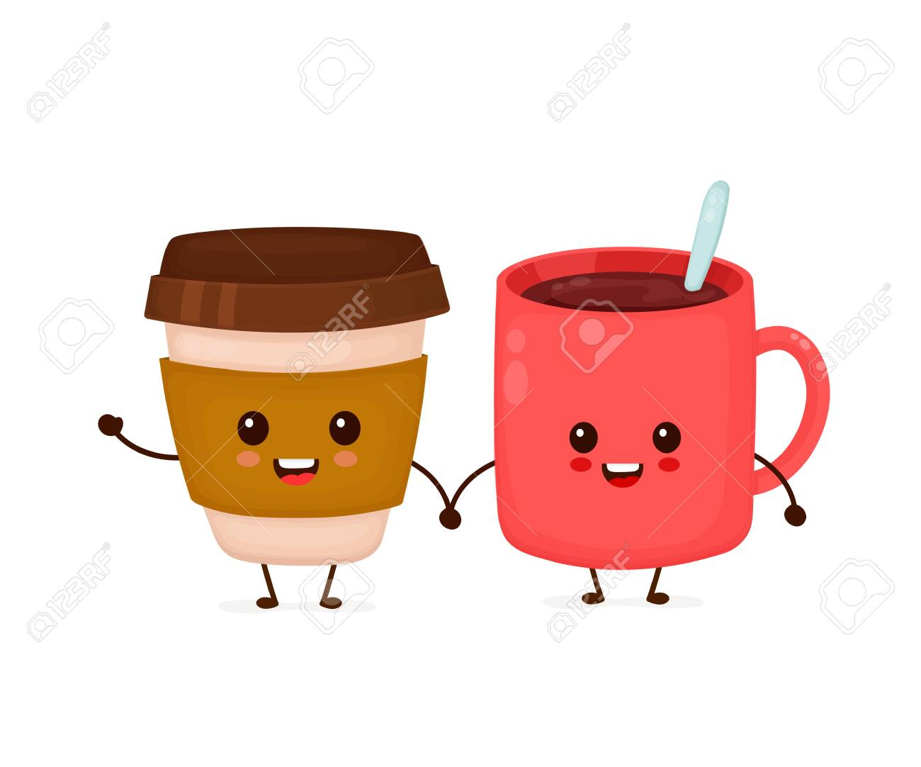 Happy Cute Smiling Funny Coffee Cups Friends Vector Flat Cartoon Royalty Free Cliparts Vectors And Stock Illustration Image 128680613