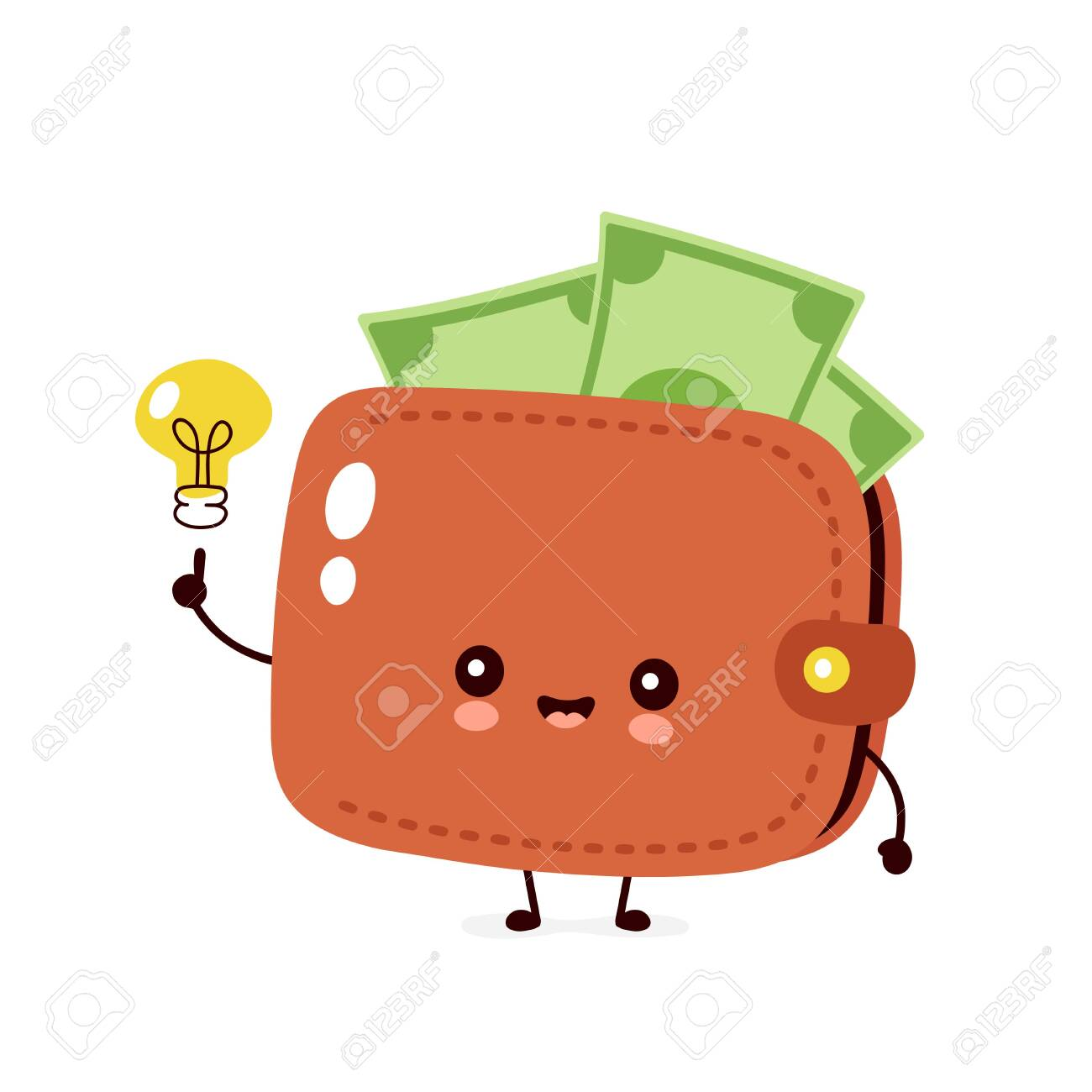 cute happy money banknote wallet with light bulb vector flat royalty free cliparts vectors and stock illustration image 129198706 cute happy money banknote wallet with light bulb vector flat