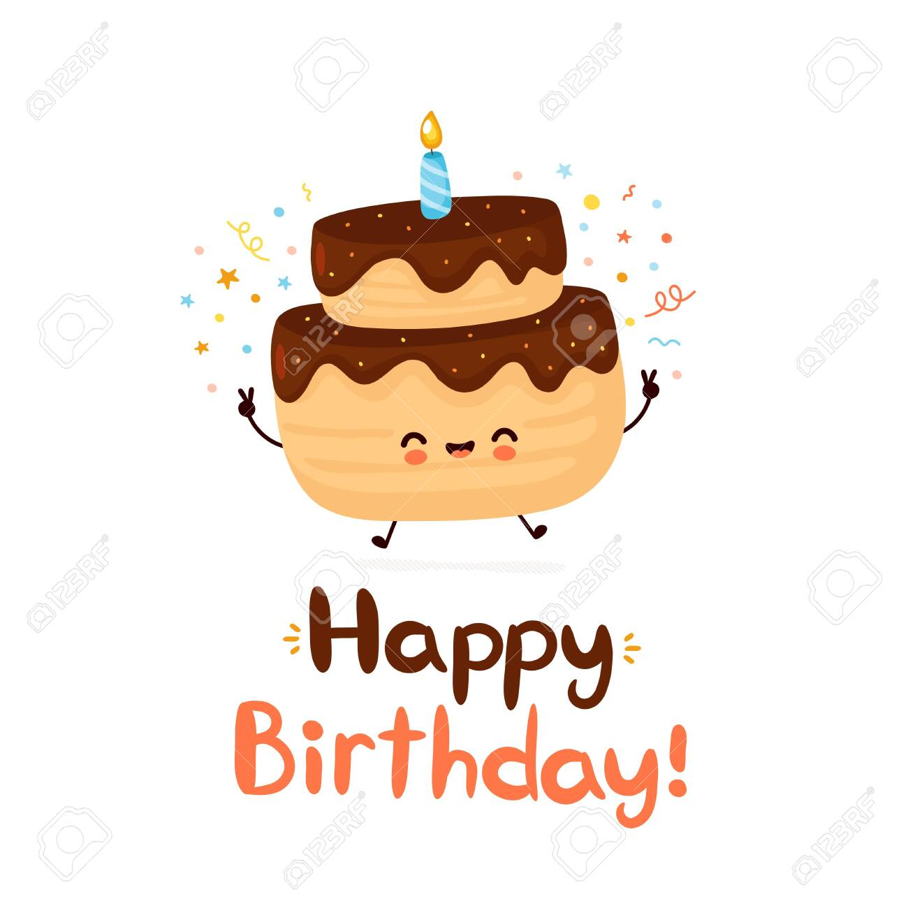 Cute Happy Cake With One Candle Happy Birthday Hand Drawn Style Royalty Free Cliparts Vectors And Stock Illustration Image 139747348
