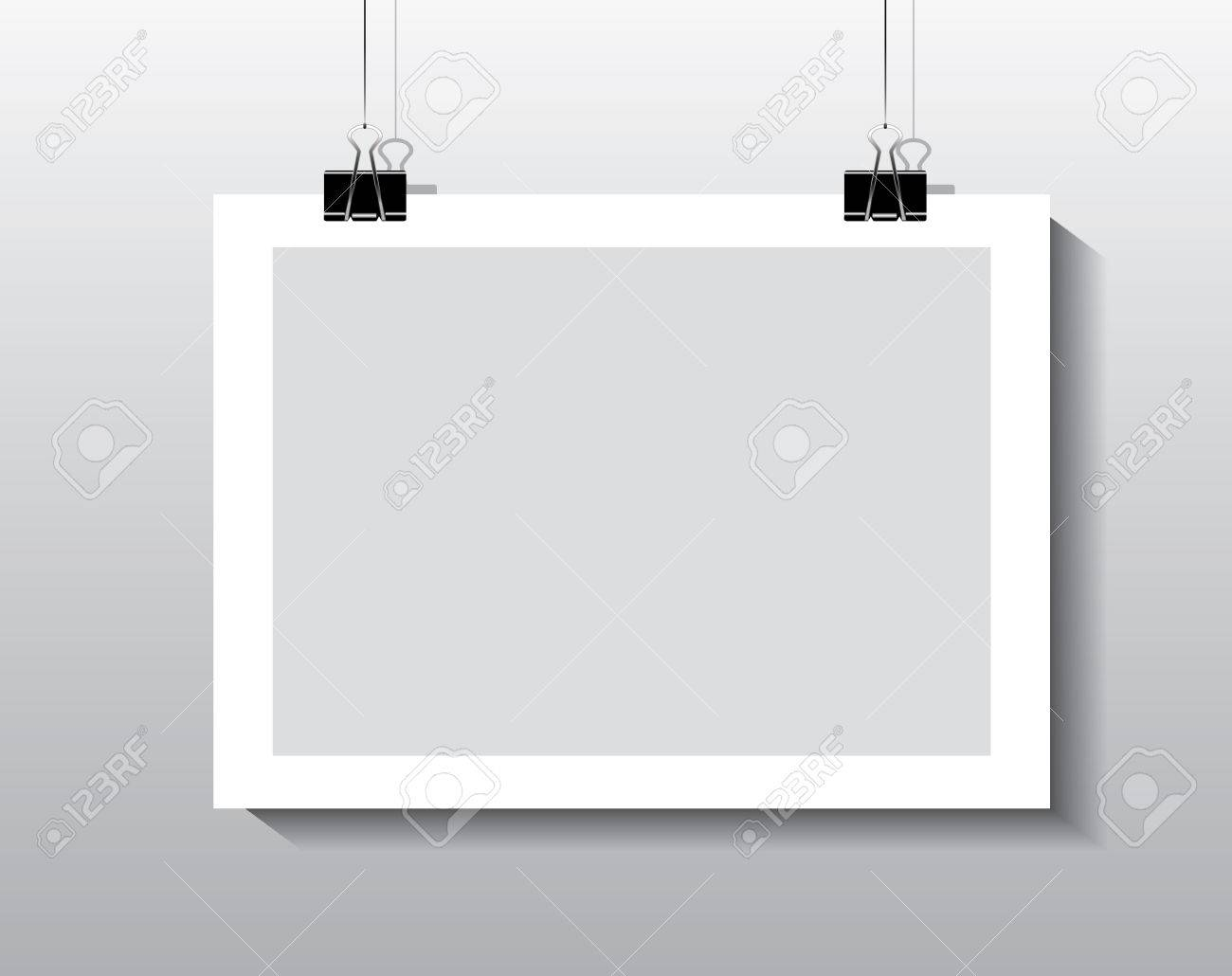 Paper Frame Hanging By Paper Clips Royalty Free Cliparts, Vectors ...
