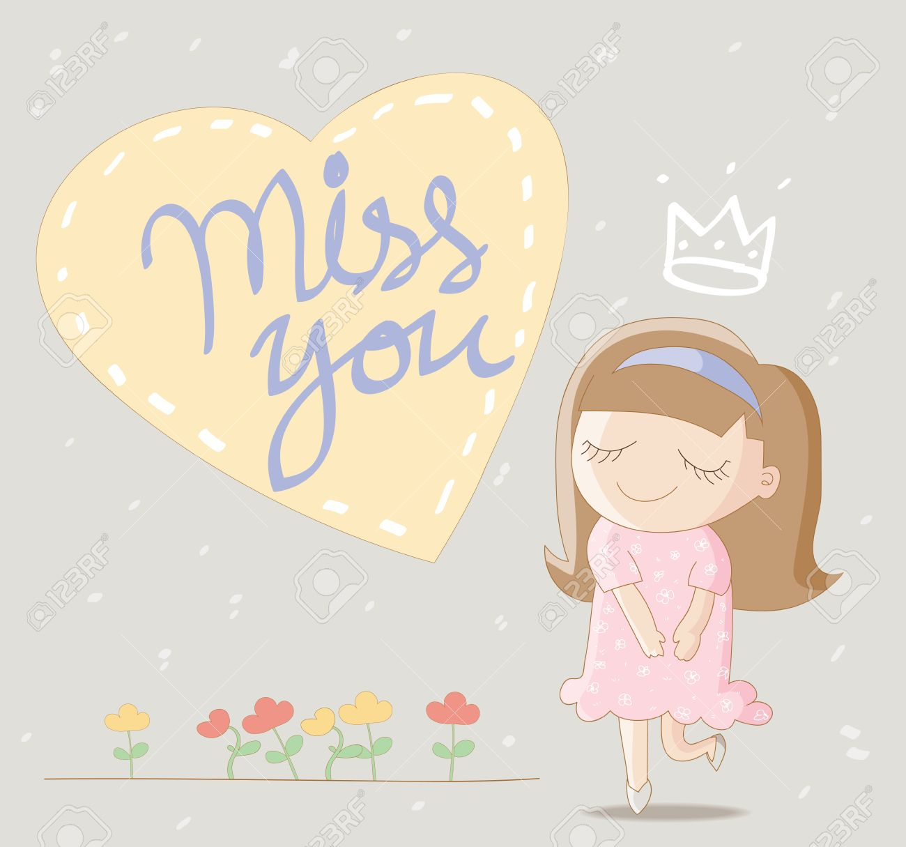 Cute Girl With Big Heart And Lettering Miss You Royalty Free
