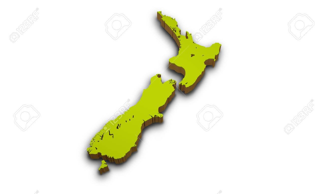 3d Map Of New Zealand.3d Map Of New Zealand Isolated On White Background