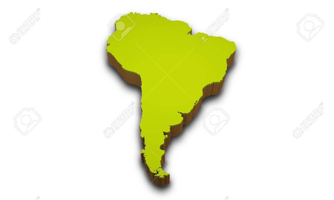 3d Map Of South America.3d Map Of South America Isolated On White Background