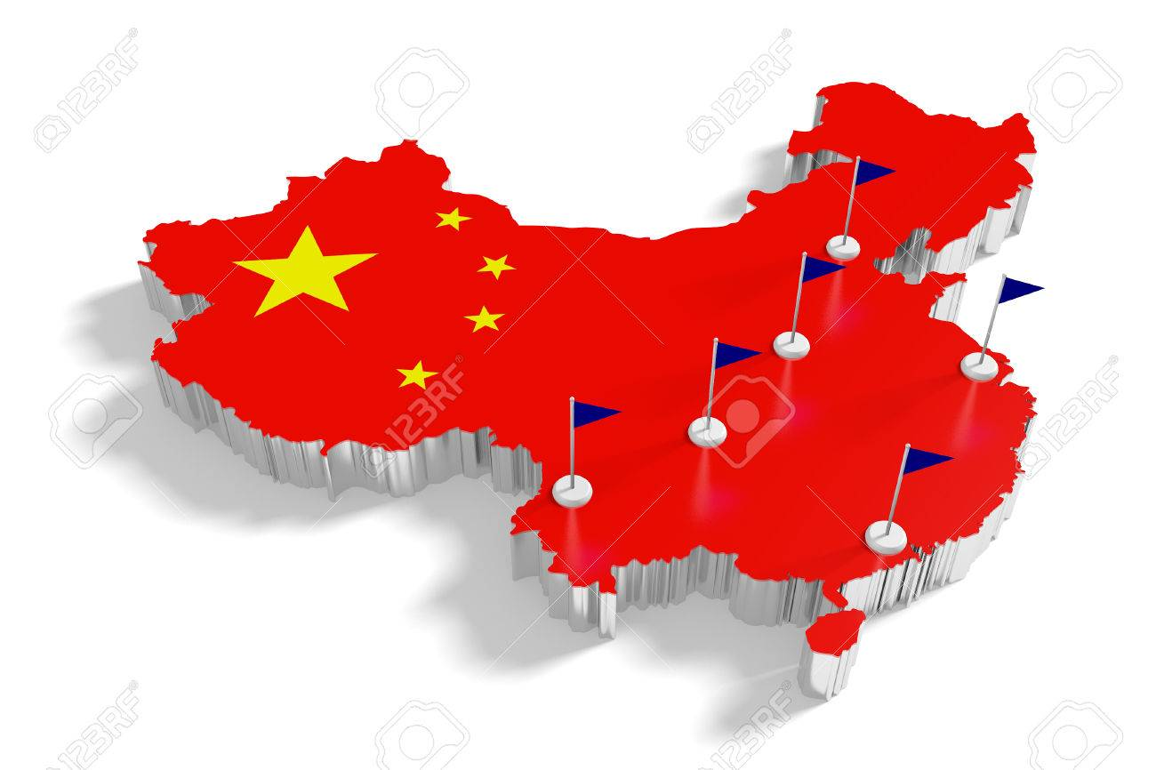China Map With Major Cities.China Map With Flags On The Flagpoles Showing The Major Cities