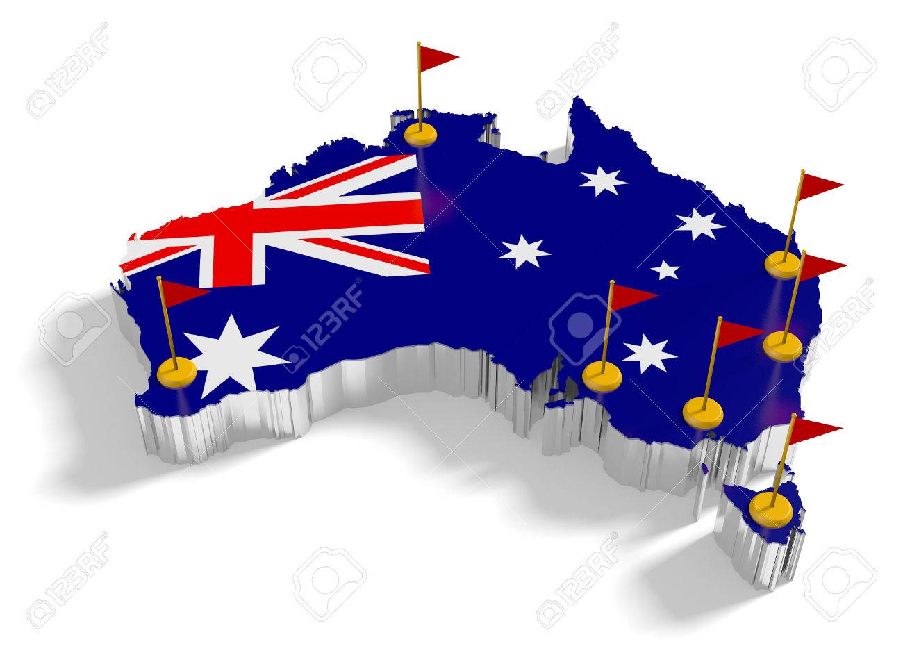 Australia Map Major Cities.Australia Map With Flags On The Flagpoles Showing The Major Cities
