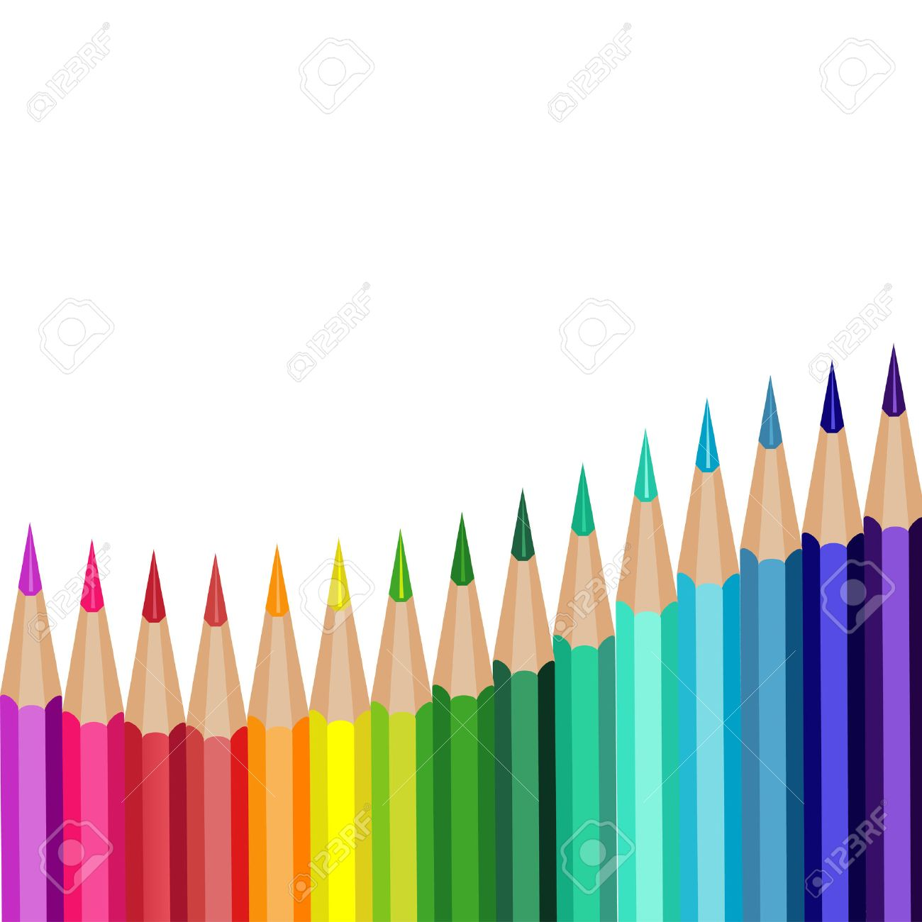 colored pencils lying in a row on a white background Stock Vector - 23120186