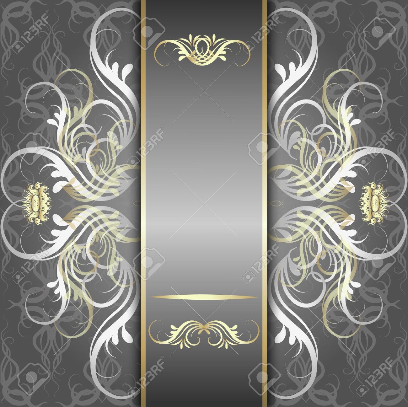 Vintage, elegant background, antique, victorian silver, floral ornament, baroque frame, beautiful invitation, classical old style card, ornate page cover, royal luxury, ornamental pattern template - 31412614