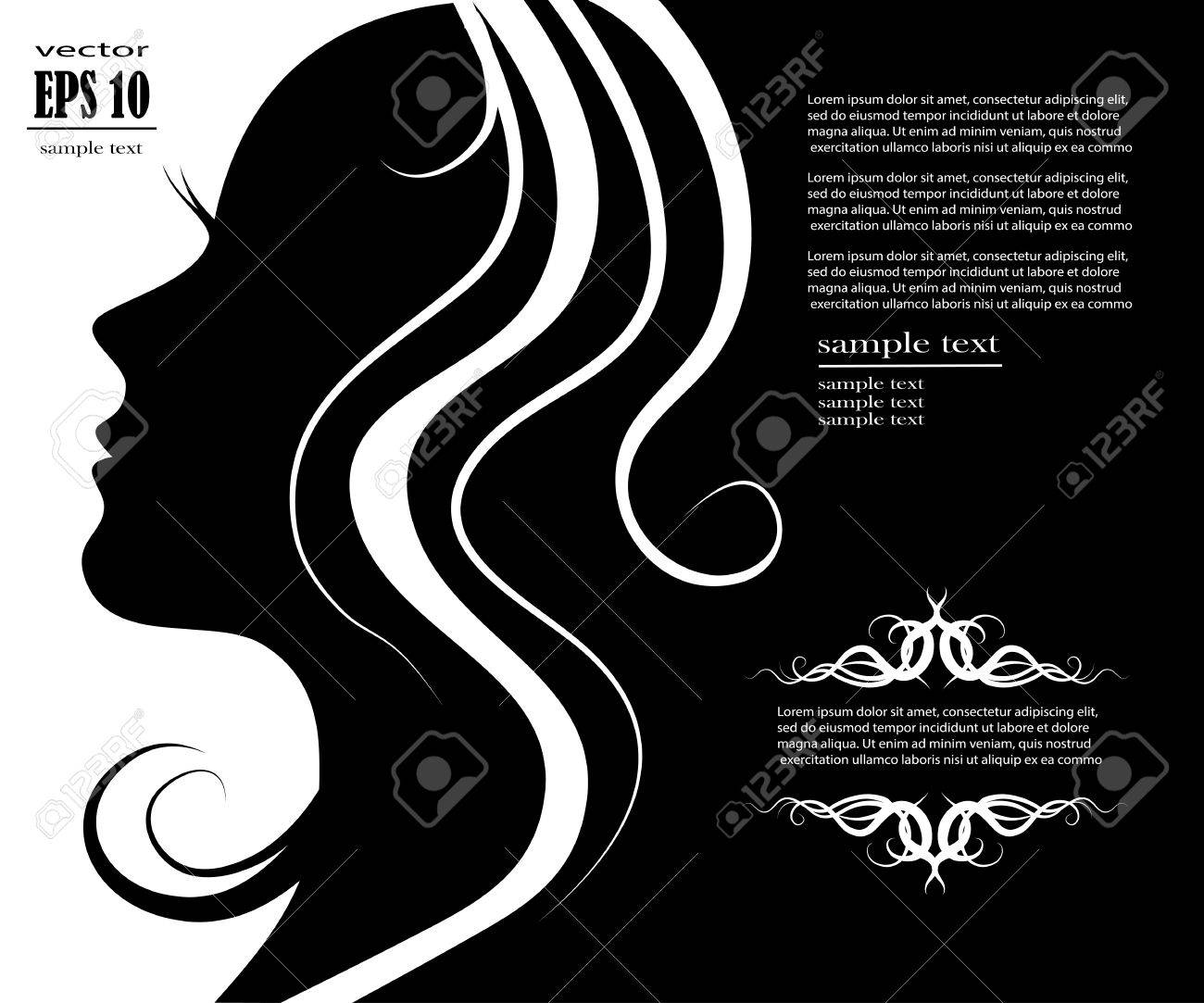 Vector illustration of Woman's silhouette with beautiful hair - 31414862