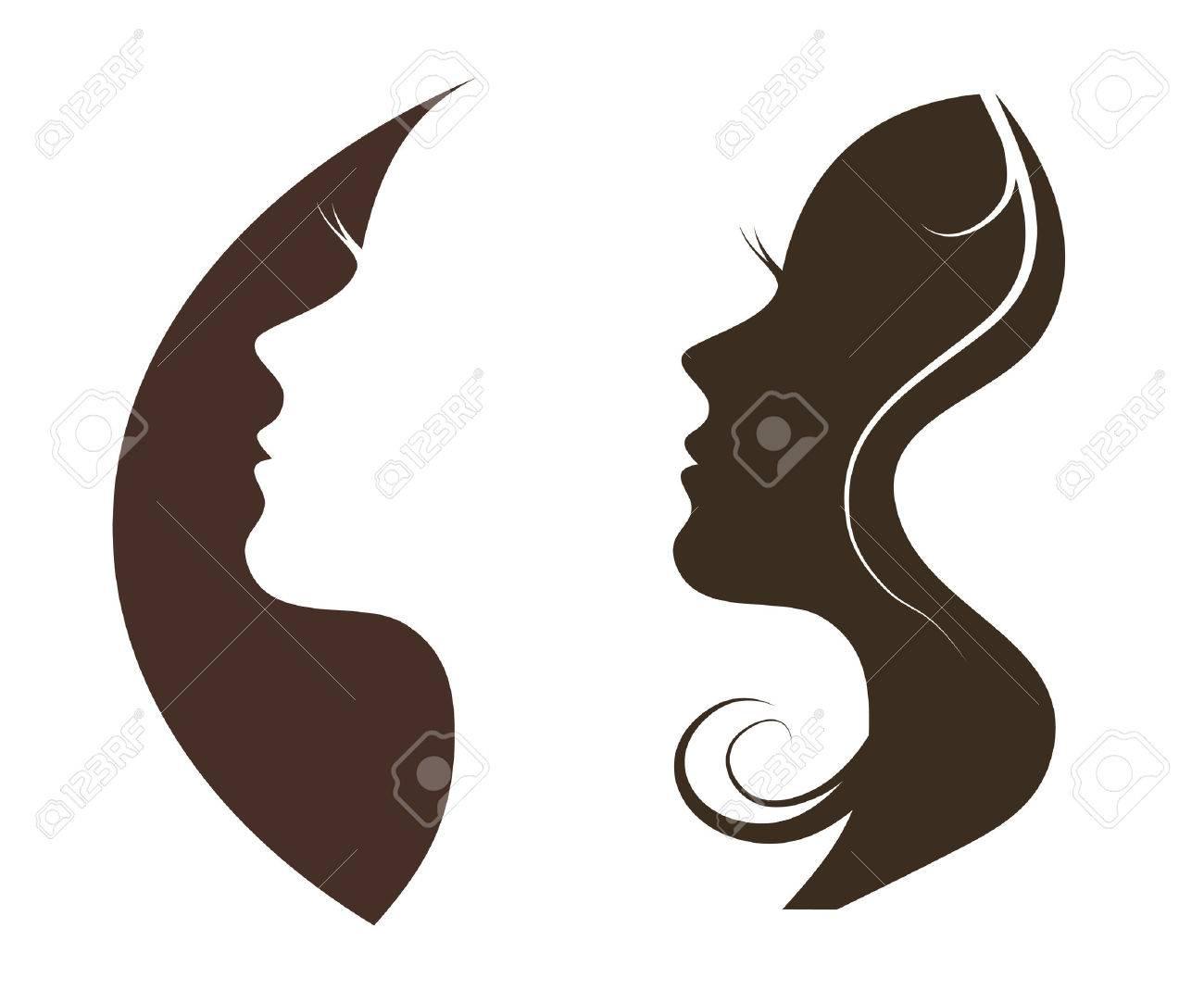 Woman chat vector logo design template. Girl silhouette - cosmetics, beauty, health; spa, fashion themes. Creative icon. - 31414881