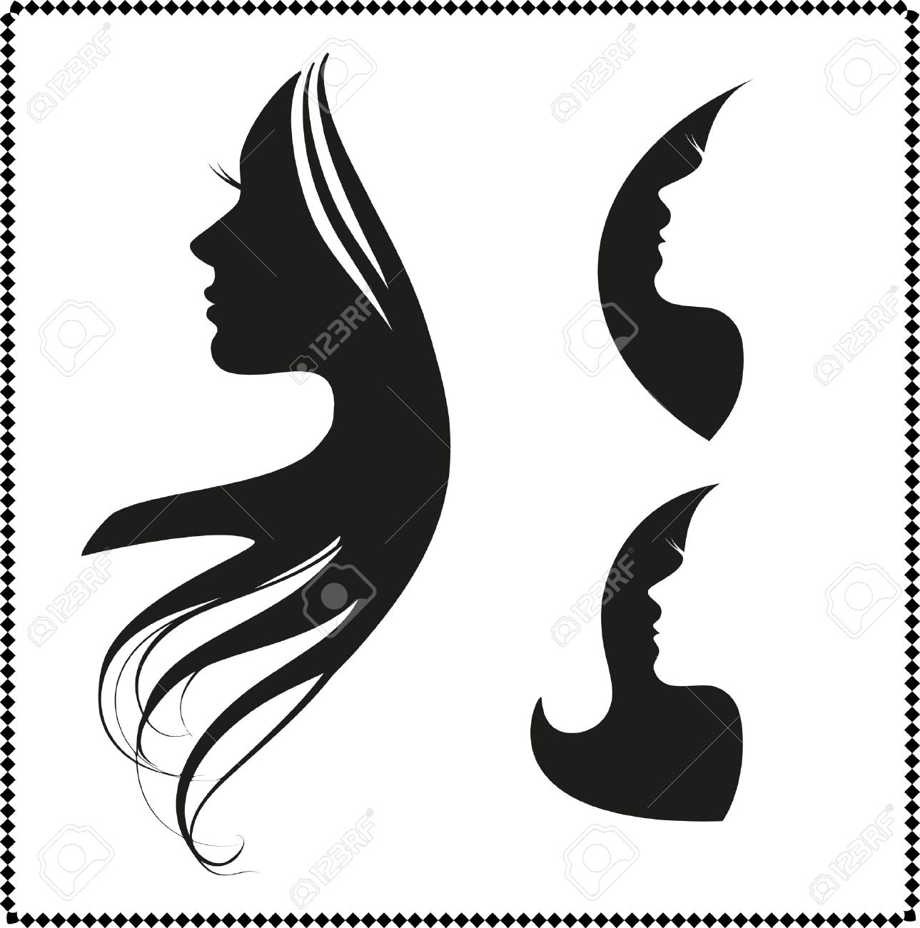 vector set of woman silhouette with hair styling - 32837850