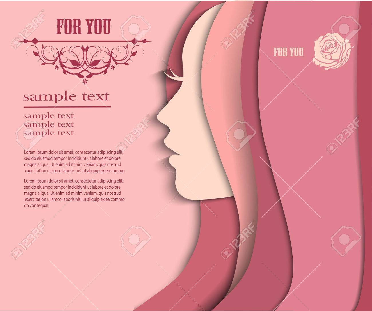 Vector illustration of Woman's silhouette with beautiful hair - 34019215