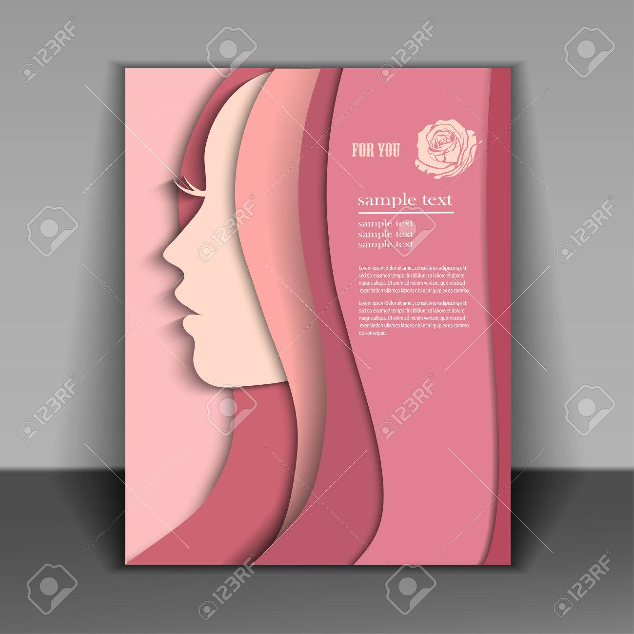 silhouette of a women on pink background for Happy Women's Day. - 36026706
