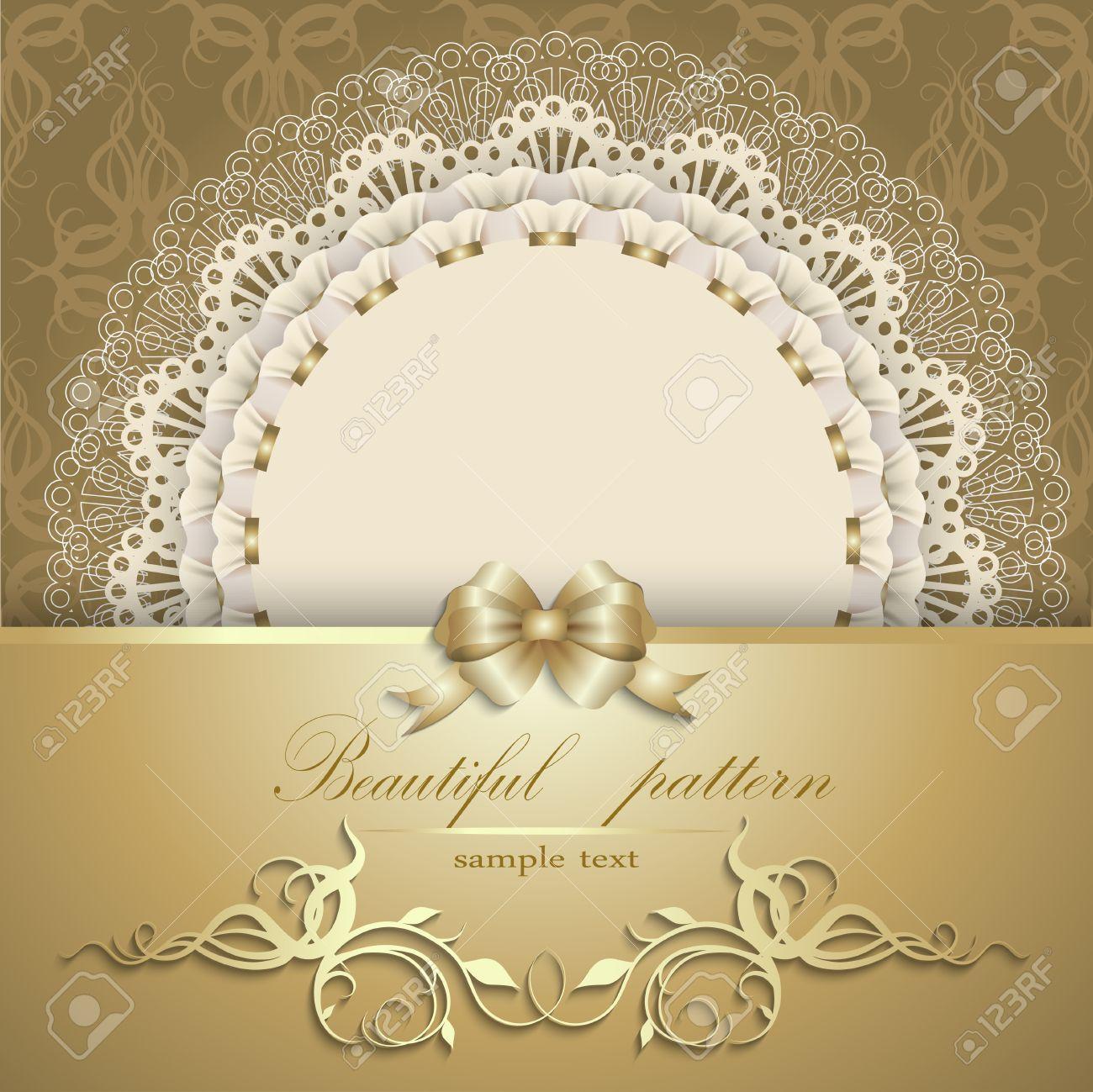 Invitación Elegante De Lujo Plantilla Tarjeta De Regalo Con Adornos De Encaje Cinta Lazo De Seda El Lugar De Texto Elementos Florales Fondo