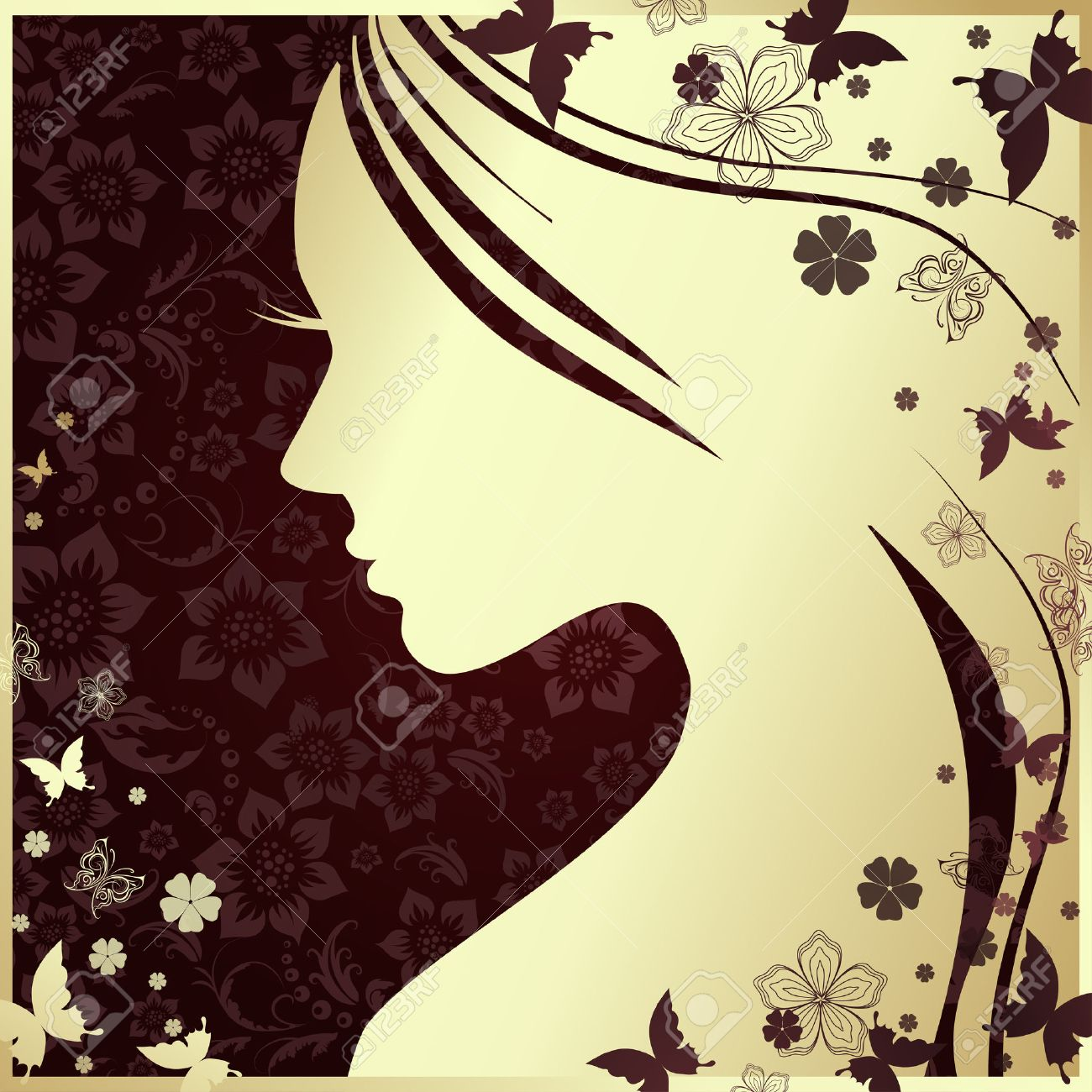 Vector illustration of Woman's silhouette with beautiful hair - 37349684