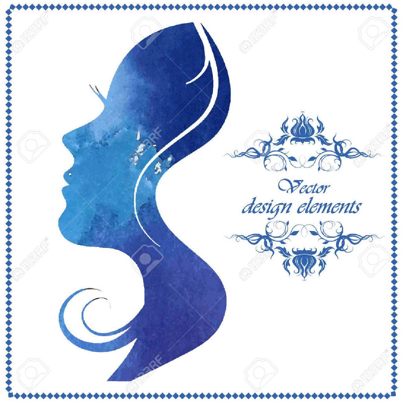 Watercolor beautiful woman silhouette. Vector illustration - 37350508
