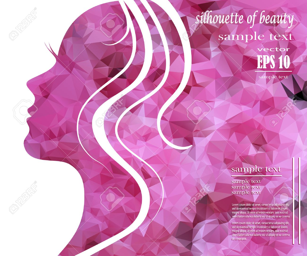 Beautiful girl silhouette with colorful hair, vector background. Abstract design concept for beauty salon, spa, cosmetic shop, flyer, brochure, cover, banner, placard. - 38162251