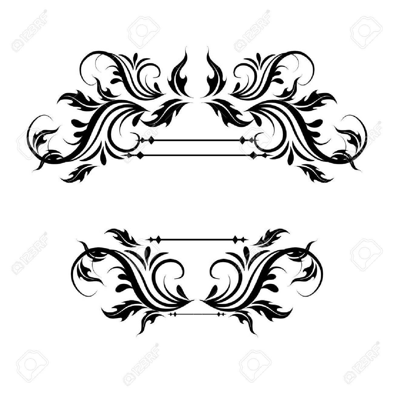 illustration of set of vintage design elements for page border - 39520523
