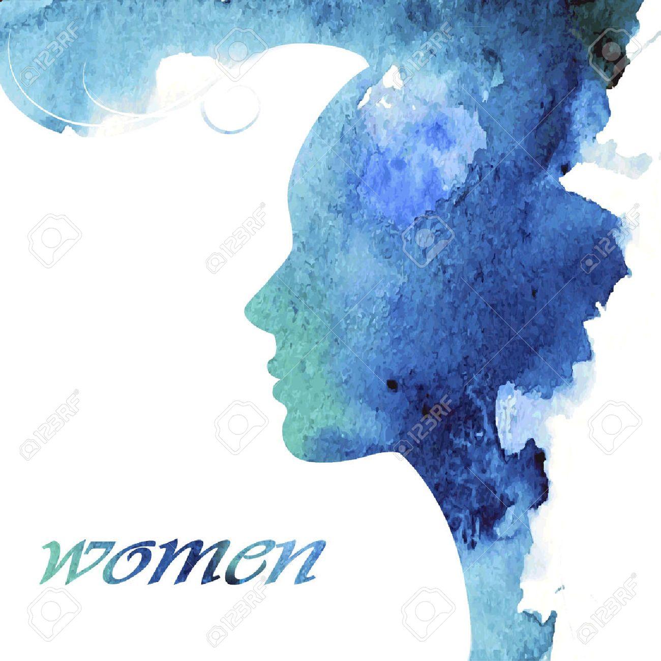 Woman chat vector logo design template. Girl silhouette - cosmetics, beauty, health; spa, fashion themes. Creative icon. - 39520564
