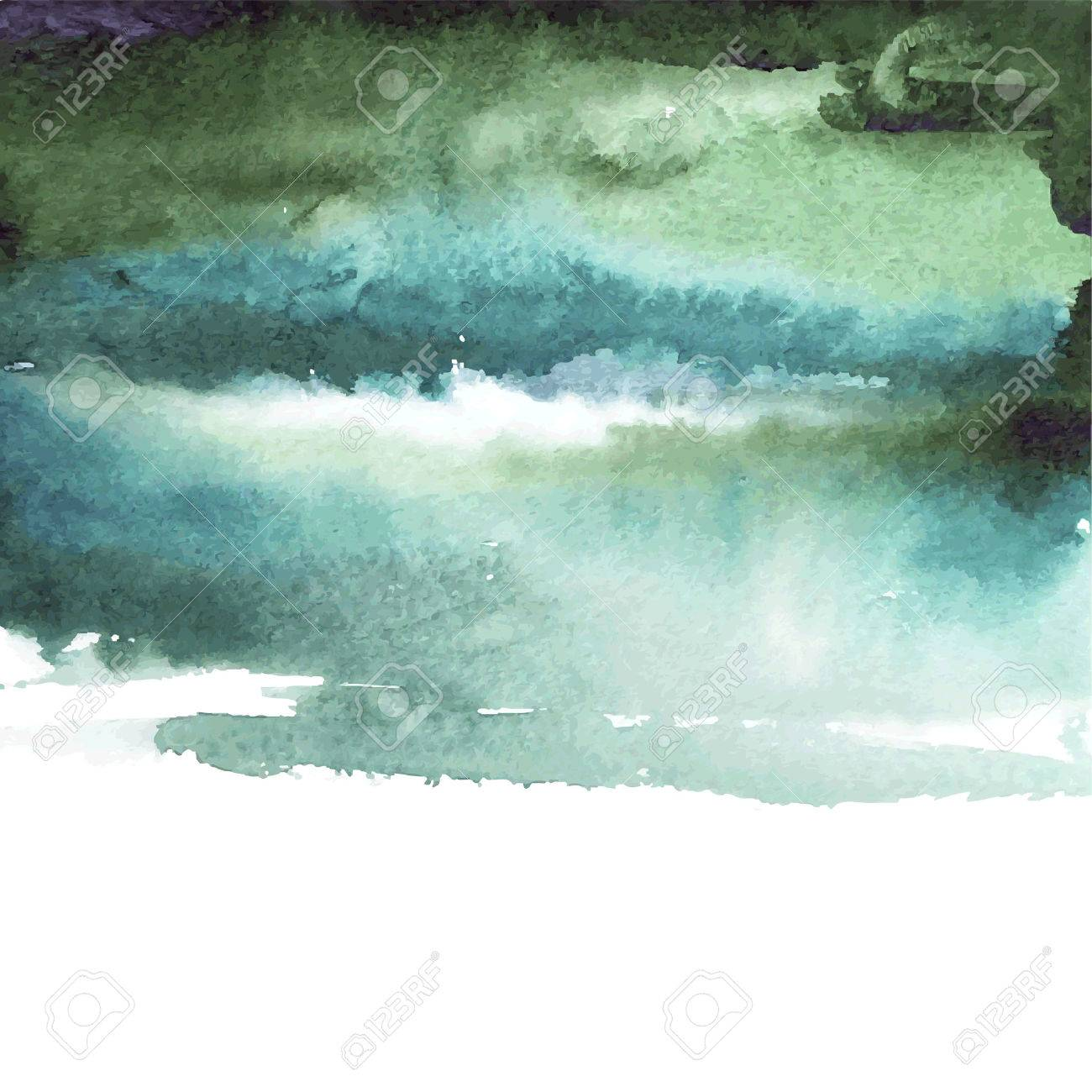 Vector abstract watercolor banner. Green, blue background. Design template with place for your text. Can be used for banners for sale, web pages, printing, invitations, cards, etc. - 41501518