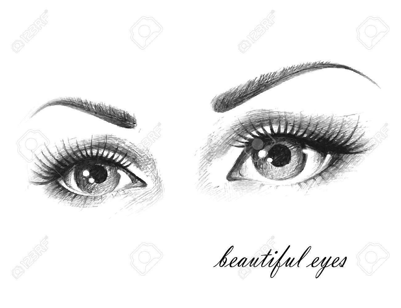 Illustration of woman eyes with long eyelashes. - 41501744