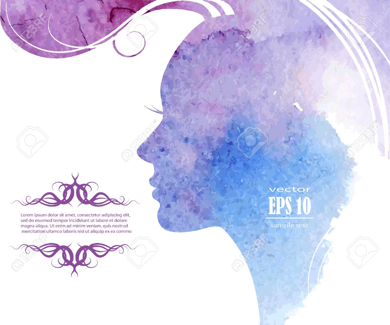 Watercolor Fashion Woman with Long Hair. Vector Illustration. Beautiful Mermaid Face. Girl Silhouette. Cosmetics. Beauty. Health and spa. Fashion themes. - 41817351