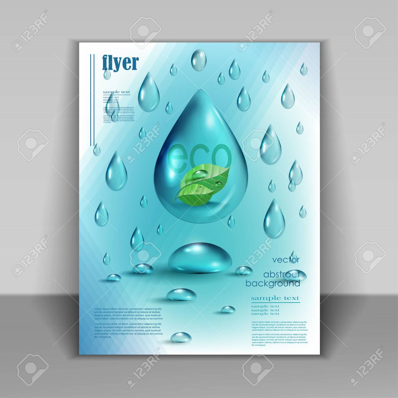 Water drops vector ecology background, leaflet template for your business presentation - 41815951