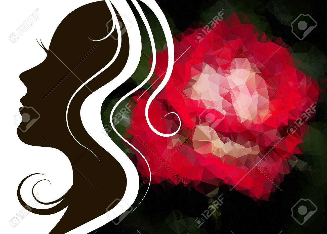 Woman silhouette plus abstract flower background - 44410332