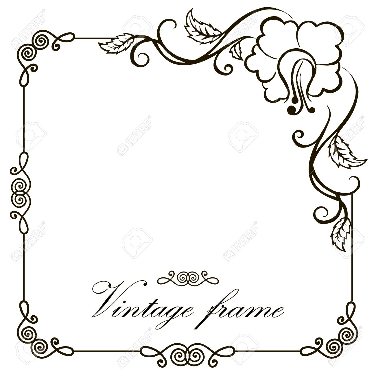 Vector Vintage Border Frame Engraving With Retro Ornament Pattern