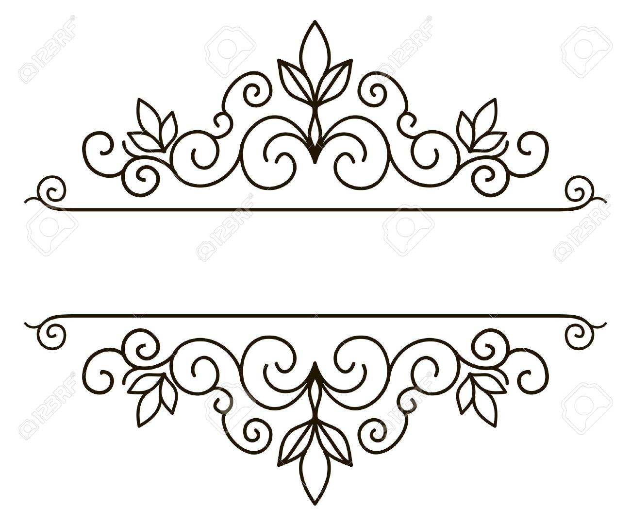 Vector decorative frame. Elegant element for design template, place for text. Floral border. Lace decor for birthday and greeting card, wedding invitation. - 56195314