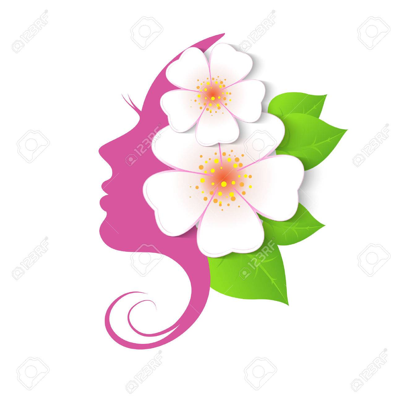 Female face in circle shape. Woman with flowers in hair. Vector beauty floral logo, sign, label design elements. Trendy concept for beauty salon, massage, spa, natural cosmetics. - 58060865