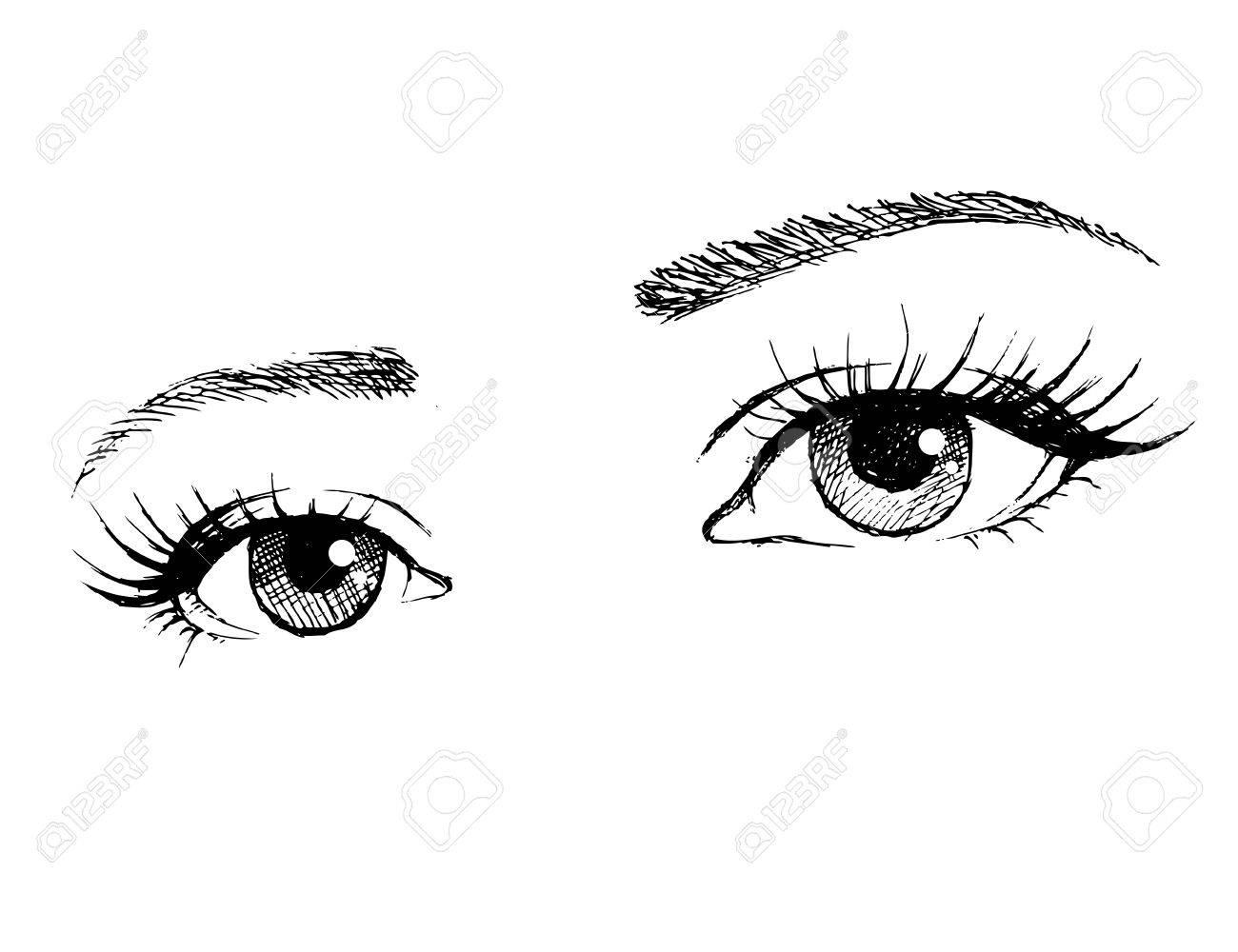 Illustration of woman eyes with long eyelashes. - 59872015