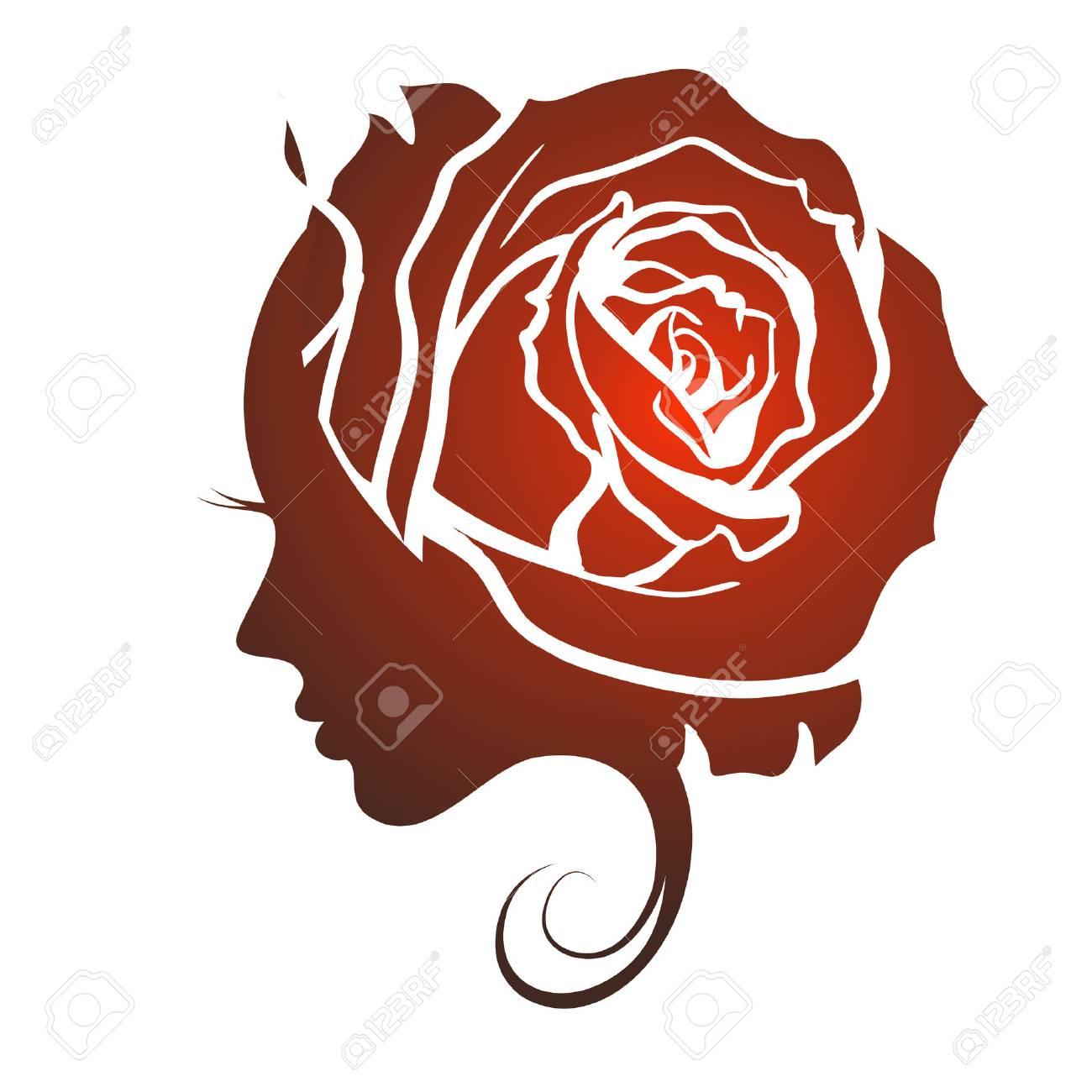 Female profile face in rose flower shape. Woman with rose petals in hair. Vector beauty floral logo, sign, label design. Concept for beauty salon, massage, spa, natural cosmetics, hairstyle. - 69427149