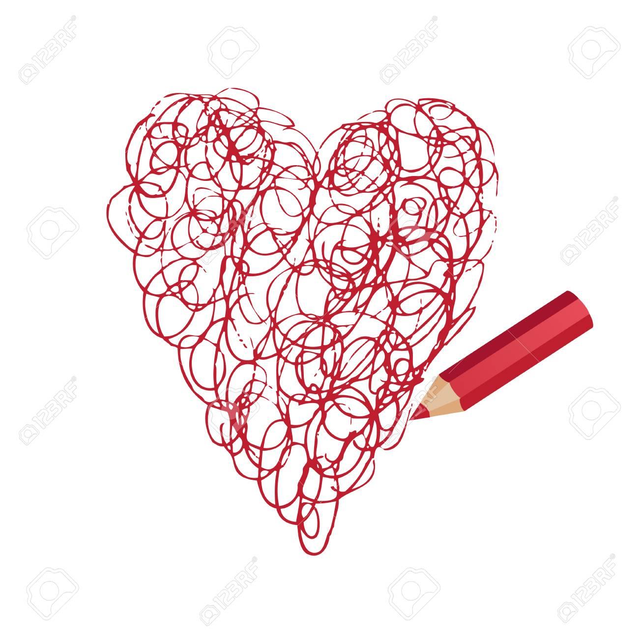 Coeur Dessin vector stylisé crayon de coeur dessin au crayon clip art libres de