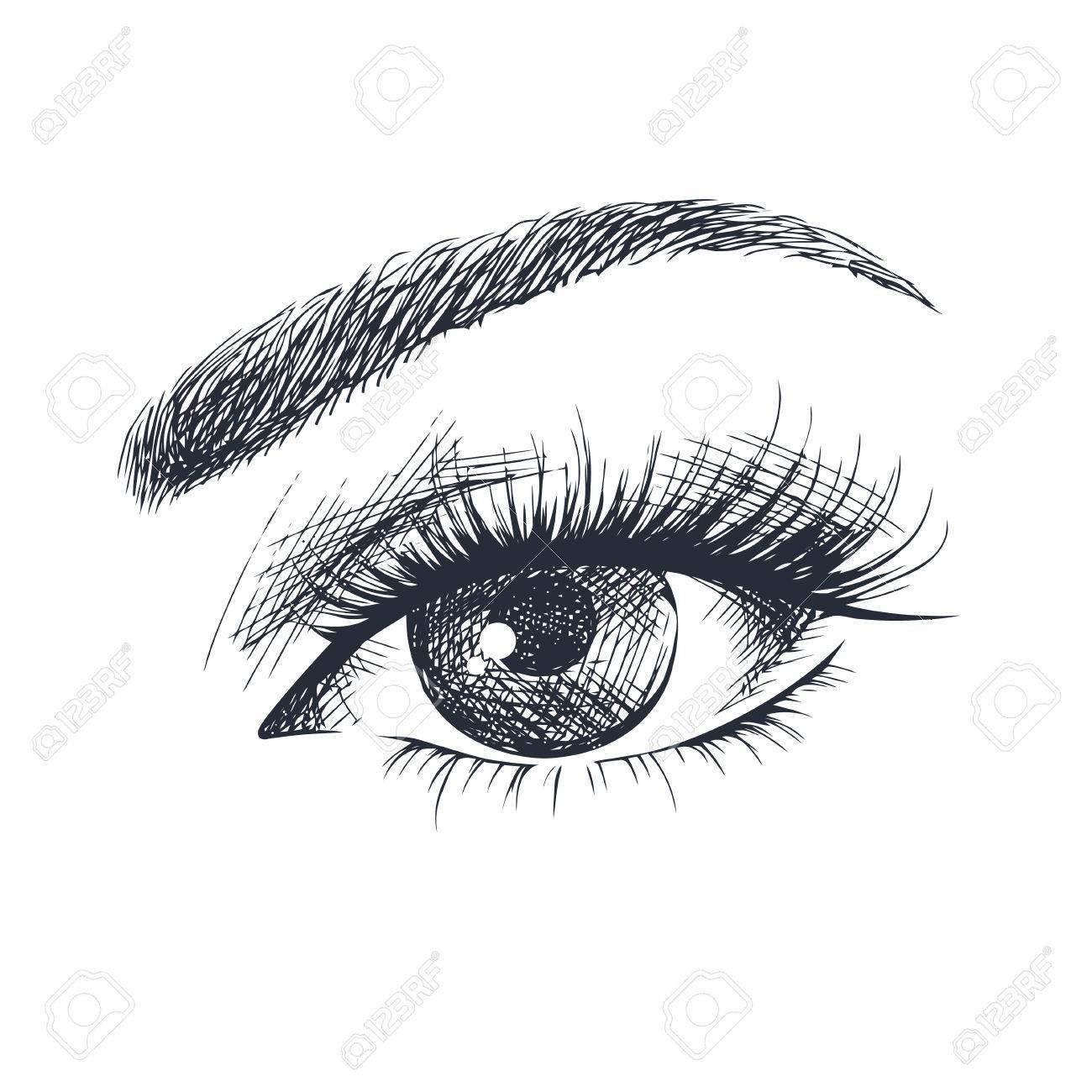 Hand-drawn beautiful female eye. - 77526378