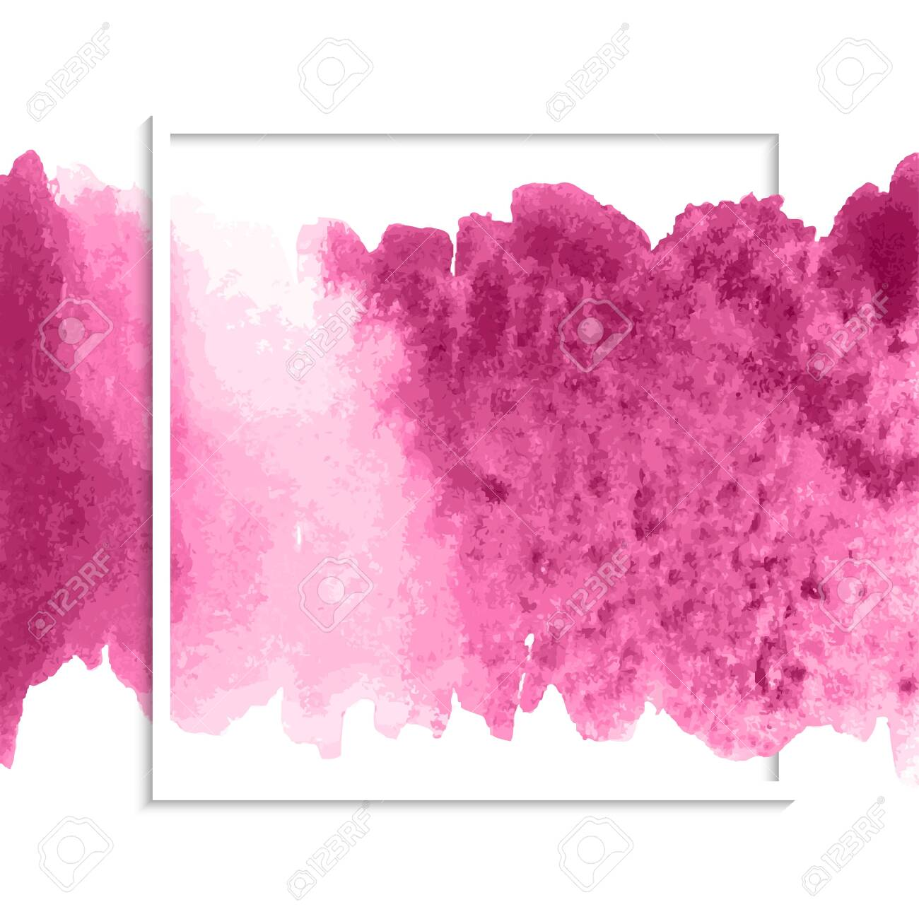Pink colorful watercolor hand drawn stroke isolated paper grain