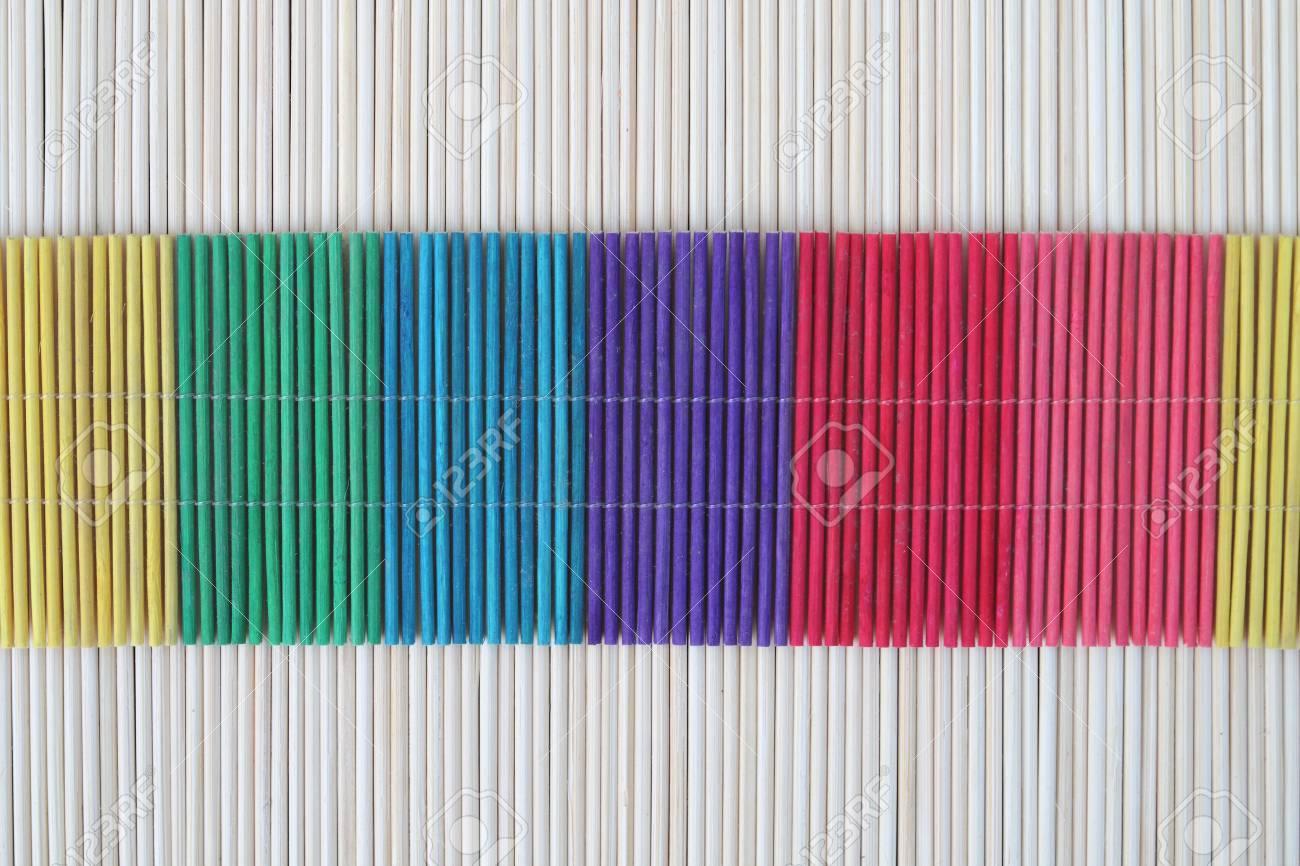 Immagini Stock - Colore Tappeto In Legno A Base Di Bambù Per ...