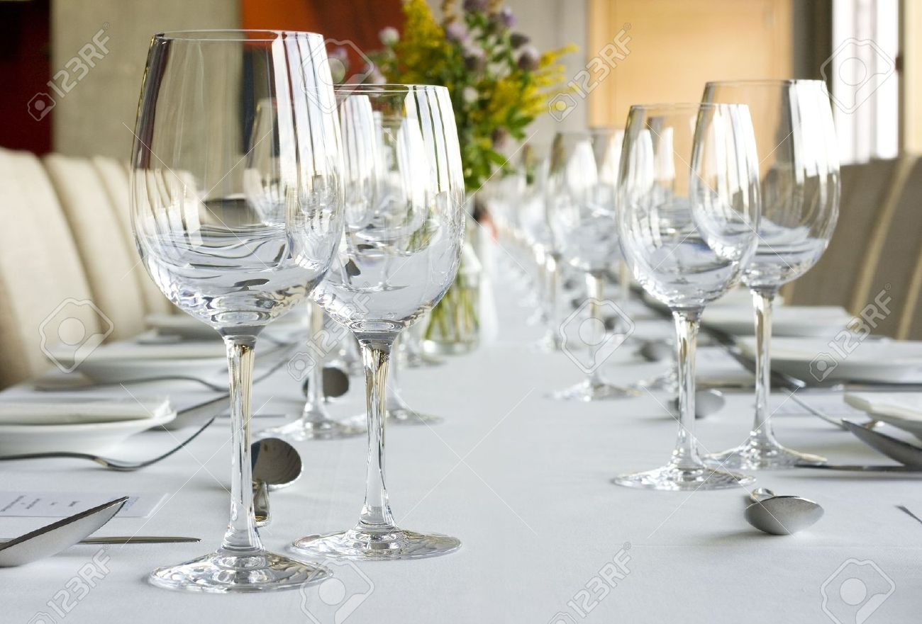 Banquet Table Setting In Gourmet Restaurant Stock Photo Picture And