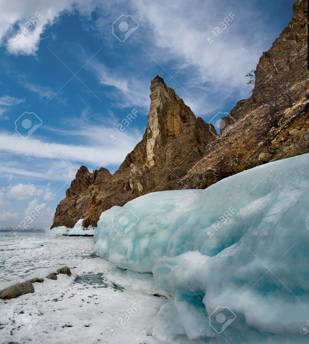 Russia. Fancy icy rocks of lake Baikal. - 157302538
