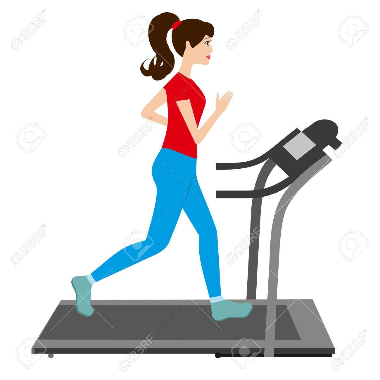 banque dimages jeune femme court sur un tapis roulant entraneur sportif jeune fille tapis roulant courir illustration vectorielle - Tapis Roulant